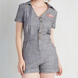 HTF Bettie Paige Pit Stop Charcoal Romper